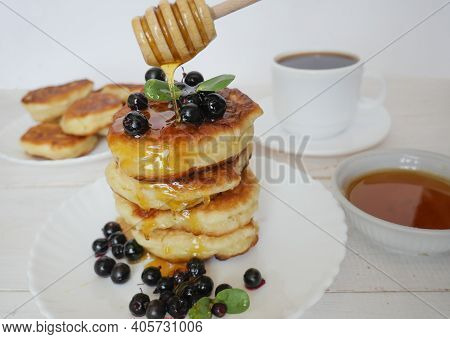 Pancakes. Stack Of Pancakes Topped With Roses Jam Butter. Breakfast.pancakes. Stack Of Pancakes Topp
