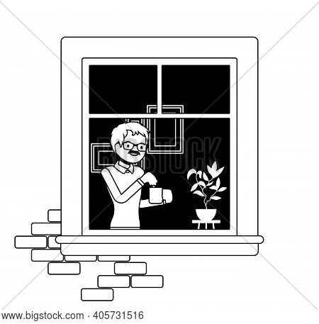 Window With Young Man Brewing Tea In A Mug Behind. Homebody Person Staying Home To Enjoy Safe Comfor
