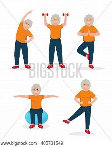 Senior Woman Doing Sport Exercises. Active And Healthy Lifestyle Concept. Retired Person Character.