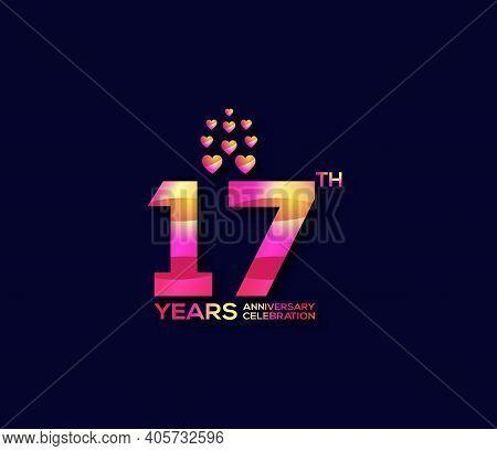 17 Year Anniversary Celebration Day Modern Background Concept