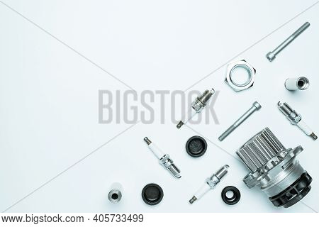Car Service. Auto Motor Mechanic Spare Or Automotive Piece On White Background. Set Of New Metal Car