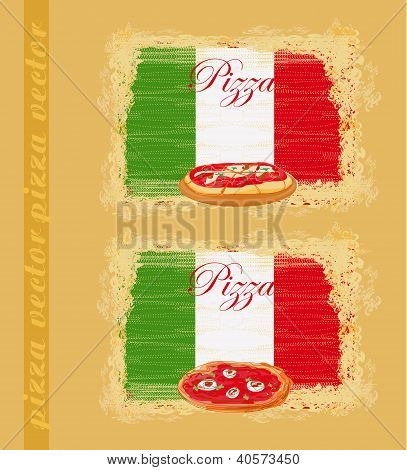 Pizza grunge poster on abstract background set poster