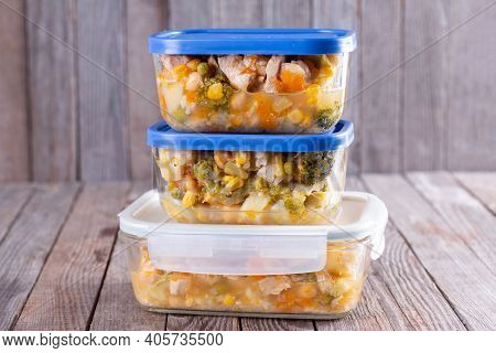 Ready To Eat. Containers With Ready Meals In Containers Ready To Be Frozen For Later Use.