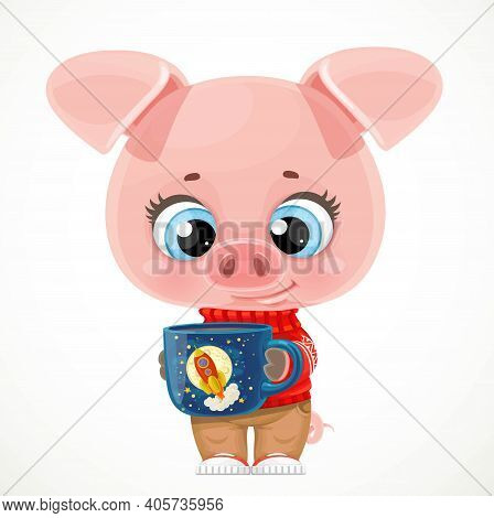 Cute Cartoon Baby Piglet With A Cup Of Tea Or Coffee On A White Background