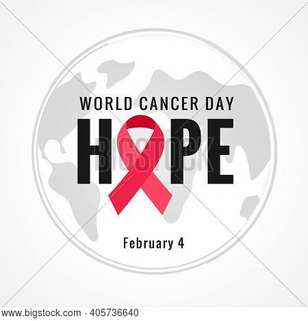 World Cancer Day, Hope Lettering Concept Banner. Vector Text Illustration For February 4 Of World Ca