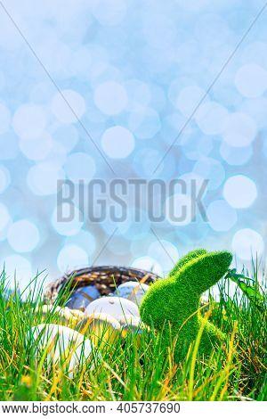 Easter Egg Background. Golden Egg With Yellow Spring Flowers In Celebration Basket On Green Grass. E
