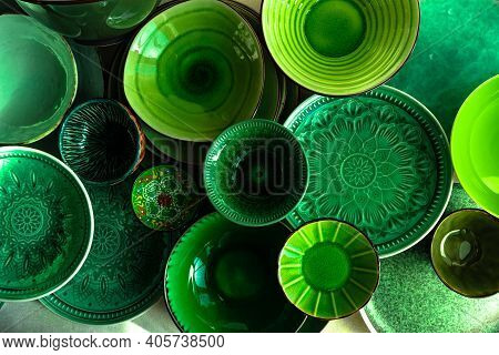 Green Ceramic Dinnerware As A Food Background