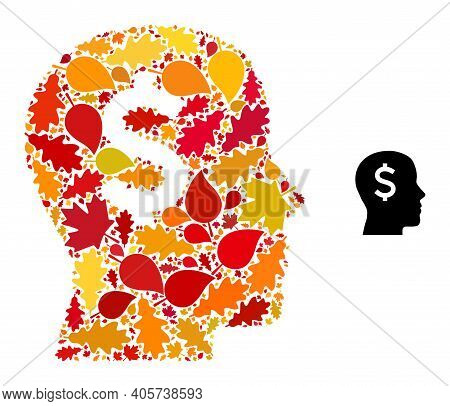 Banker Head Mosaic Icon Combined For Fall Season. Vector Banker Head Mosaic Is Designed Of Randomize