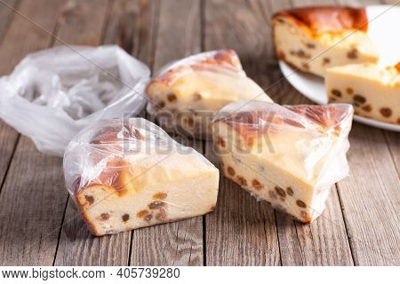 Frozen Cheesecake With Raisins On A Wooden Table. Frozen Cottage Cheese Casserole, Frozen Food