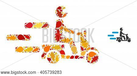 Fast Motorbike Mosaic Icon Created For Fall Season. Vector Fast Motorbike Mosaic Is Created Of Scatt