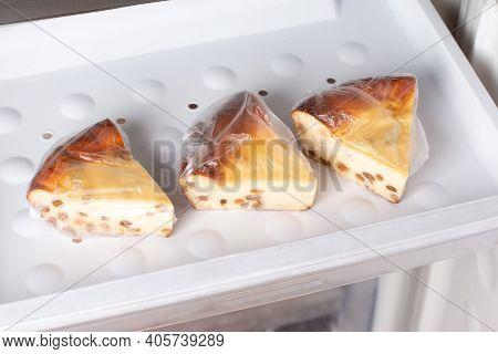 Frozen Cheesecake With Raisins In The Freezer. Frozen Cottage Cheese Casserole, Frozen Food
