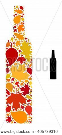 Wine Bottle Mosaic Icon Designed For Fall Season. Vector Wine Bottle Mosaic Is Created With Scattere