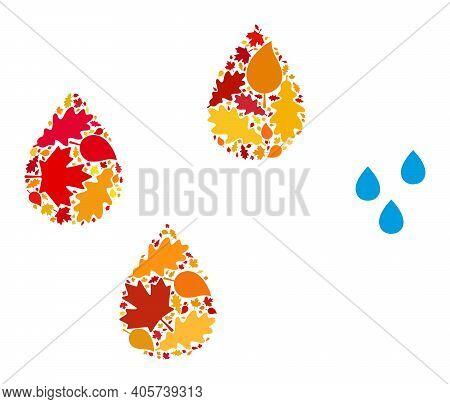 Water Drops Mosaic Icon Combined For Fall Season. Vector Water Drops Mosaic Is Done With Randomized