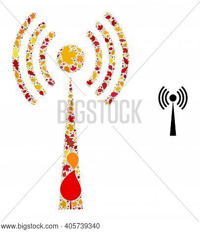 Radio Tower Mosaic Icon Organized For Fall Season. Vector Radio Tower Mosaic Is Done Of Scattered Au