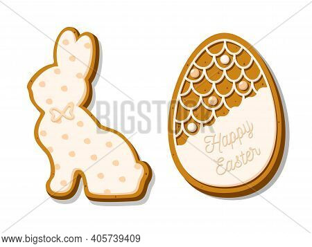 Easter Cookies Set In The Shape Of An Egg And A Rabbit. Homemade Festive Gingerbread Cookies Isolate