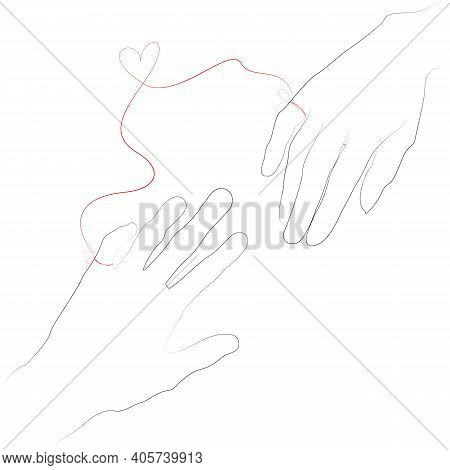 Hand Drawn Simple Valentine S Day, Wedding Greeting Card Or Invitation, With Hands Connected By The