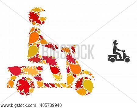 Motorbike Driver Mosaic Icon Designed For Fall Season. Vector Motorbike Driver Mosaic Is Formed From