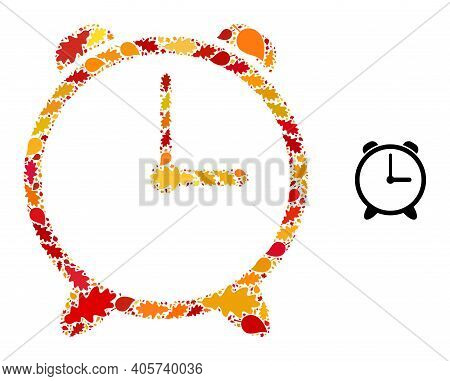 Alarm Clock Mosaic Icon Combined For Fall Season. Vector Alarm Clock Mosaic Is Designed With Randomi