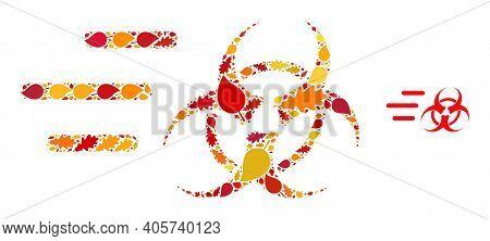 Rush Biohazard Mosaic Icon Created For Fall Season. Vector Rush Biohazard Mosaic Is Created From Ran