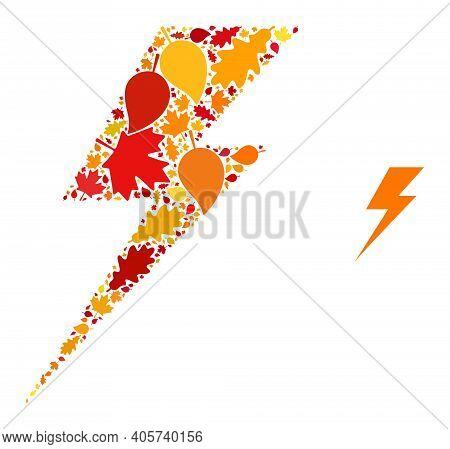Electric Strike Mosaic Icon Organized For Fall Season. Vector Electric Strike Mosaic Is Formed With