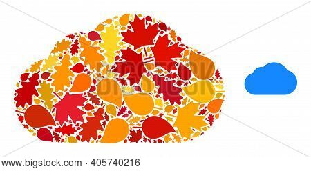 Cloud Mosaic Icon Combined For Fall Season. Vector Cloud Mosaic Is Done With Randomized Fall Maple A
