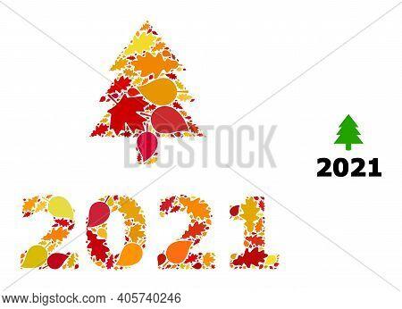 2021 Fir Tree Mosaic Icon Done For Fall Season. Vector 2021 Fir Tree Mosaic Is Done From Randomized