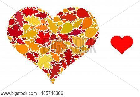Love Heart Mosaic Icon Organized For Fall Season. Vector Love Heart Mosaic Is Constructed Of Scatter