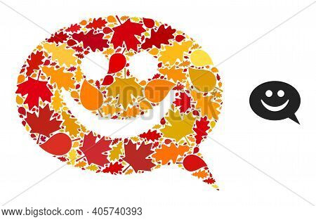 Happy Message Mosaic Icon Constructed For Fall Season. Vector Happy Message Mosaic Is Constructed Of
