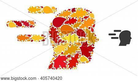 Rush Mind Mosaic Icon Organized For Fall Season. Vector Rush Mind Mosaic Is Shaped Of Randomized Aut
