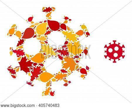 Covid-2019 Virus Mosaic Icon Created For Fall Season. Vector Covid-2019 Virus Mosaic Is Organized Wi