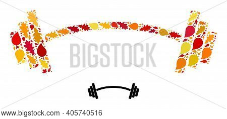 Heavy Barbell Mosaic Icon Designed For Fall Season. Vector Heavy Barbell Mosaic Is Made Of Random Au