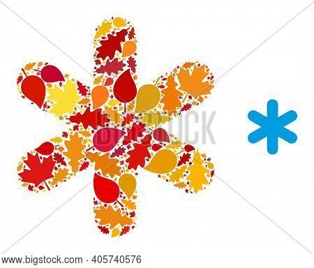 Simple Snowflake Mosaic Icon Organized For Fall Season. Vector Simple Snowflake Mosaic Is Created Fr