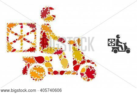 Pizza Motorbike Delivery Mosaic Icon Done For Fall Season. Vector Pizza Motorbike Delivery Mosaic Is