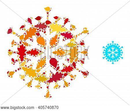 Winter Virus Mosaic Icon Organized For Fall Season. Vector Winter Virus Mosaic Is Organized Of Scatt