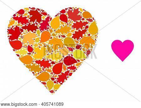 Heart Mosaic Icon Designed For Fall Season. Vector Heart Mosaic Is Designed From Scattered Fall Mapl