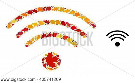 Wi-fi Source Composition Icon Designed For Fall Season. Vector Wi-fi Source Mosaic Is Designed With