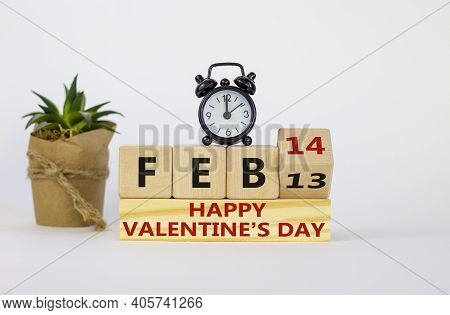 February 14 Valentines Day Symbol. Fliped Wooden Cube With Words 'feb 14 Happy Valentines Day'. Blac