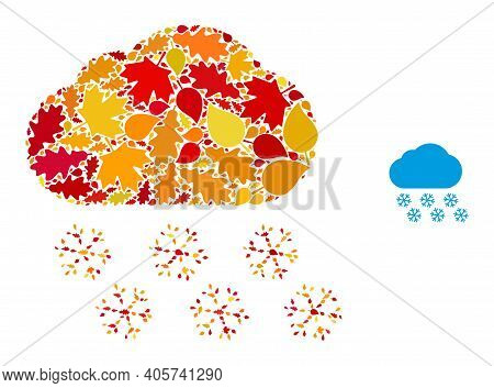 Snow Cloud Mosaic Icon Combined For Fall Season. Vector Snow Cloud Mosaic Is Organized With Scattere