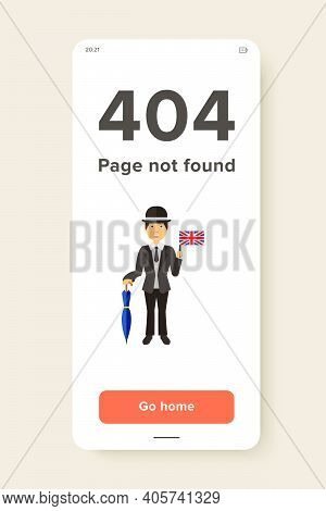 Icon Of Englishman With Umbrella. Hospitality, English People. Gentleman Concept. Can Be Used For To