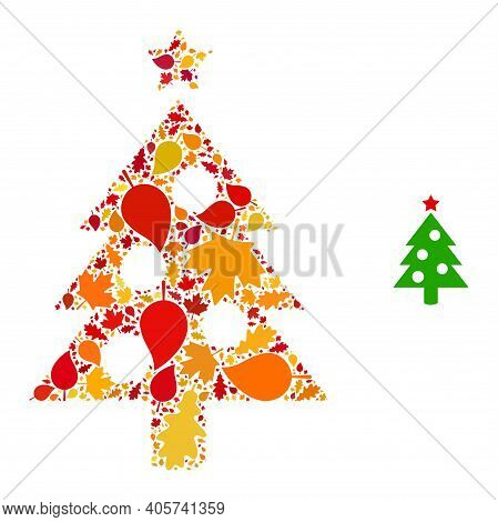 New Year Tree Mosaic Icon Organized For Fall Season. Vector New Year Tree Mosaic Is Created Of Rando