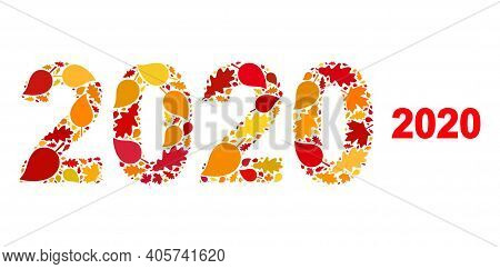 2020 Year Digits Mosaic Icon Combined For Fall Season. Vector 2020 Year Digits Mosaic Is Formed With