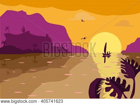 Beautiful Landscape In Flat Style. Vector Illustration. Landscape With Views Of The Sunset, Sea And