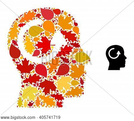 Remember Mosaic Icon Done For Fall Season. Vector Remember Mosaic Is Constructed Of Scattered Autumn