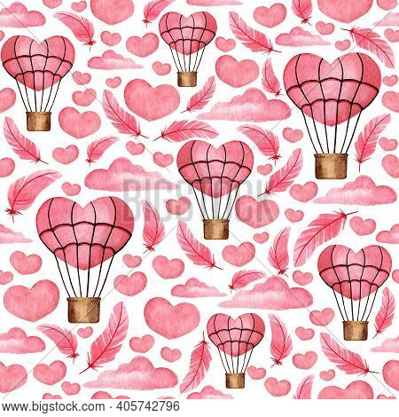 Seamless Pattern With Pink Hearts, Clouds, Balloons. Watercolor Background For Design, Decor, Scrapb