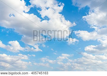 Blue Sky Background With Clouds , Nature , Beautiful Cloud And Blue Sky.
