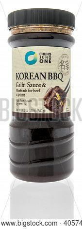 Winneconne, Wi -17 January 2021: A Bottle Of Chung Jung One Korean Bbq Galbi Sauce On An Isolated Ba