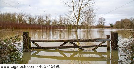 Flood Water In Fields, Uk Countryside, 2021. Climate Change, Extreme Weather, Global Warming. Global