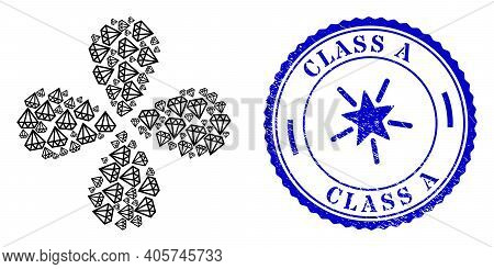 Brilliant Explosion Flower With Four Petals, And Blue Round Class A Unclean Stamp Print With Icon In