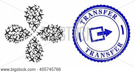 Airplane Swirl Flower Cluster, And Blue Round Transfer Rough Watermark With Icon Inside. Element Clu