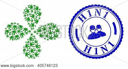 Cannabis Exploding Bang, And Blue Round H1n1 Unclean Stamp Seal With Icon Inside. Element Flower Wit